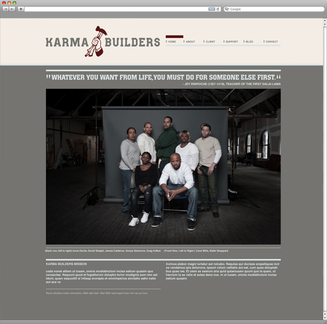 Karma Builders home page